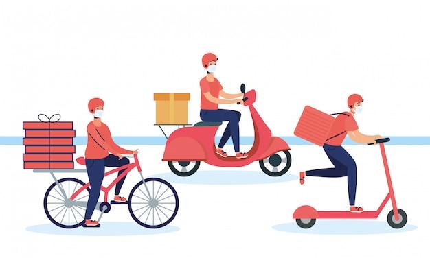 Trabalhadores de entrega usando máscaras no conjunto de veículos