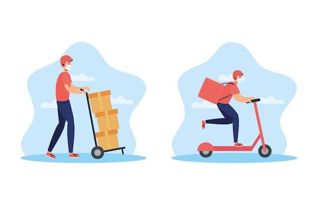 Trabalhadores de entrega usando máscaras no skate e carrinho