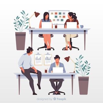 Trabalhadores de escritório artístico sentado na ilustração de mesas