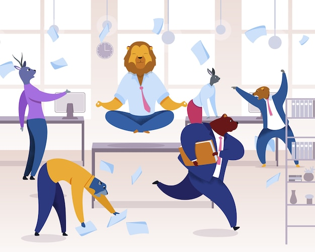 Trabalhadores de escritório com cabeças de animais clipart