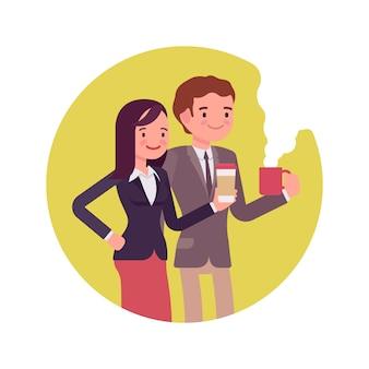 Trabalhadores de escritório com café