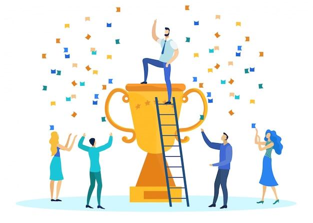 Trabalhadores de escritório, comemorando a vitória na competição