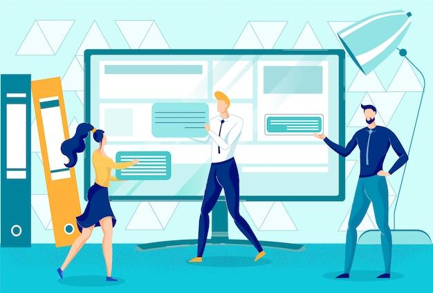 Trabalhadores de escritório criando conteúdo exclusivo para o site