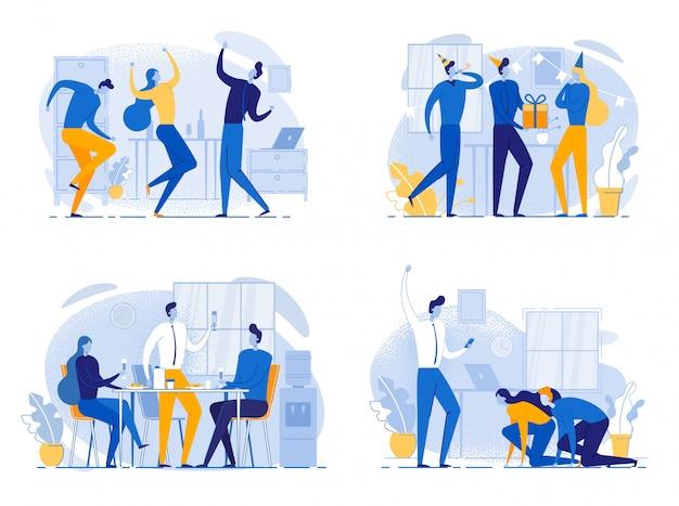 Trabalhadores de escritório de desenho animado comemoram sucesso nos negócios