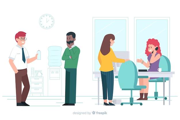 Trabalhadores de escritório de design plano comunicando
