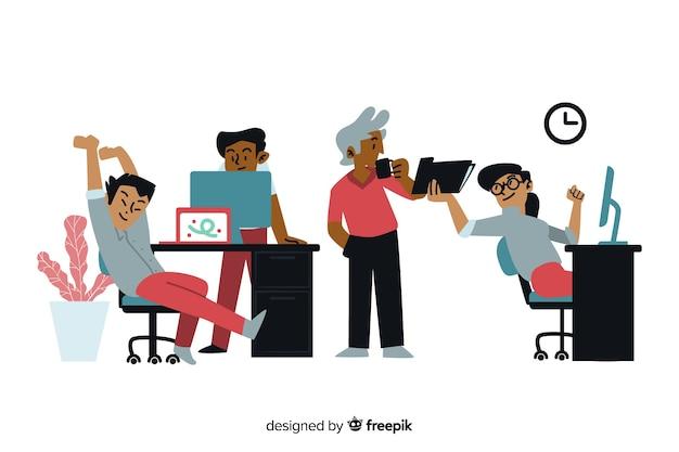 Trabalhadores de escritório de design plano descansando
