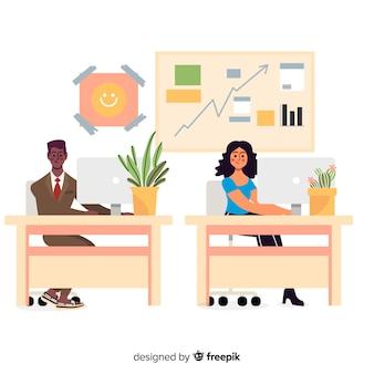 Trabalhadores de escritório de design plano sentado em mesas