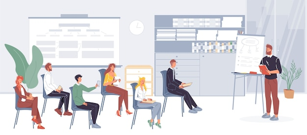 Trabalhadores de escritório de personagens de desenhos animados, funcionários ocupados fazendo negócios, encontrando-se no interior do escritório.