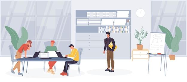 Trabalhadores de escritório de personagens de desenhos animados, funcionários ocupados fazendo negócios, várias coisas no interior do escritório.