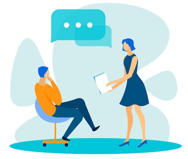 Trabalhadores de escritório diversos, tendo o diálogo