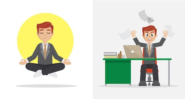 Trabalhadores de escritório do homem de negócios calmos e irritados.