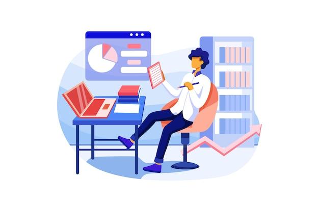 Trabalhadores de escritório do sexo masculino estudam o infográfico