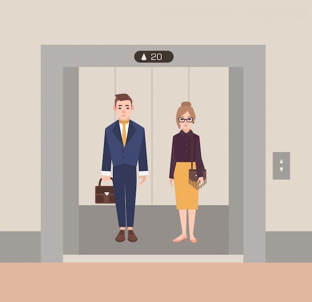 Trabalhadores de escritório em pé no elevador aberto. homens e mulheres de negócios. ilustração plana dos desenhos animados.