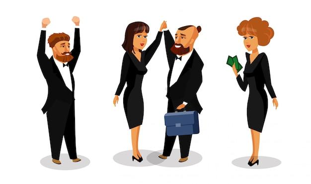 Trabalhadores de escritório feliz assinado acordo plano de desenho