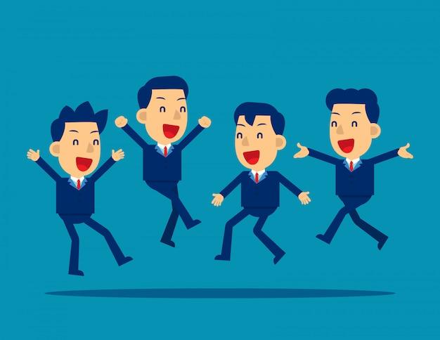 Trabalhadores de escritório feliz pulando