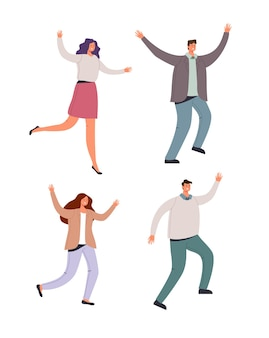 Trabalhadores de escritório felizes e sorridentes dançando e pulando no fundo branco isolado, conjunto de ilustração