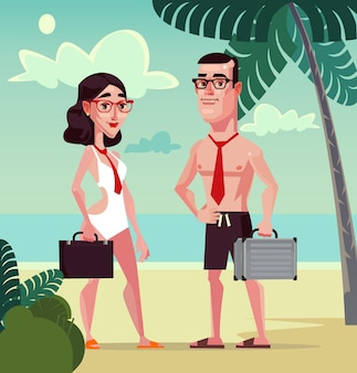 Trabalhadores de escritório felizes e sorridentes, homem e mulher, personagem na praia