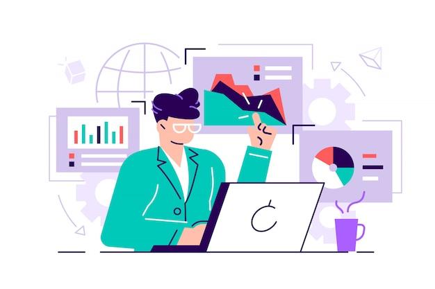Trabalhadores de escritório feminino estão estudando o infográfico, a análise da escala evolutiva. ilustração do estilo simples de negócios para a página da web, mídias sociais, documentos, cartazes. mulher no laptop