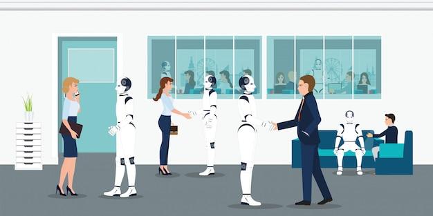 Trabalhadores de escritório humanos e robôs.