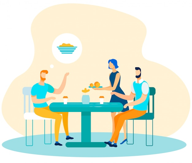 Trabalhadores de escritório masculino, aproveitando a hora do almoço dos desenhos animados