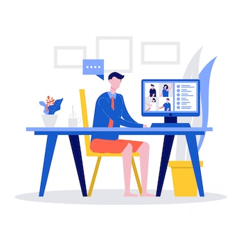 Trabalhadores de escritório masculino em camisa formal e shorts com videochamada no computador para reuniões on-line,