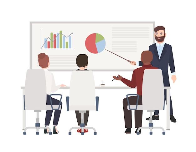 Trabalhadores de escritório na reunião do quadro branco.