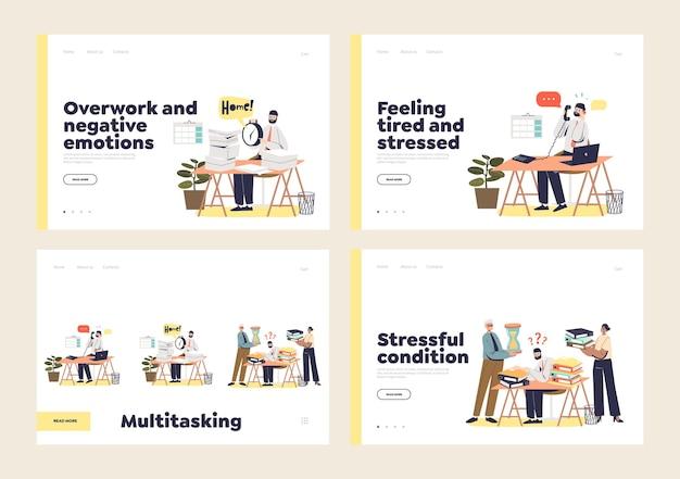 Trabalhadores de escritório ocupados, multitarefa e sobrecarregados
