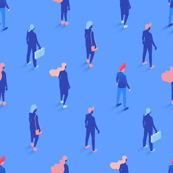 Trabalhadores de escritório, padrão sem emenda isométrica de gerentes. cenário de trabalhadores corporativos, papel de embrulho