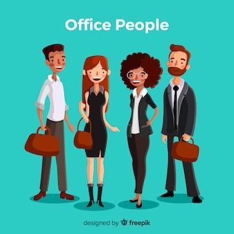 Trabalhadores de escritório profissional com design plano