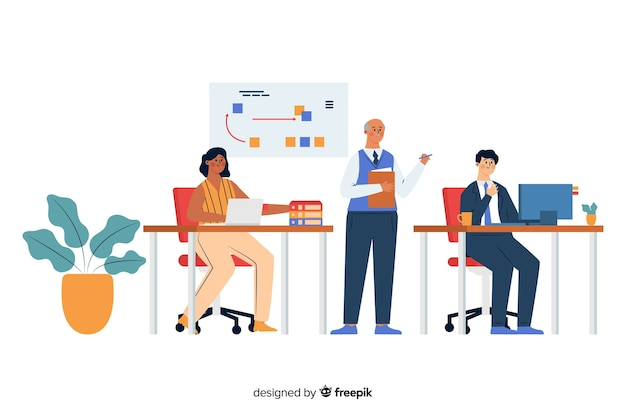 Trabalhadores de escritório sentado em mesas