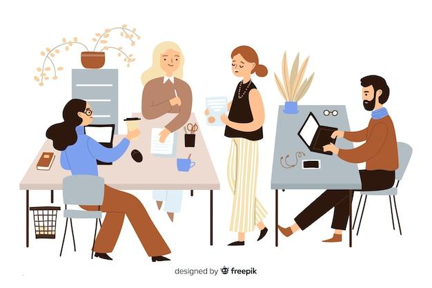 Trabalhadores de escritório, sentado em mesas