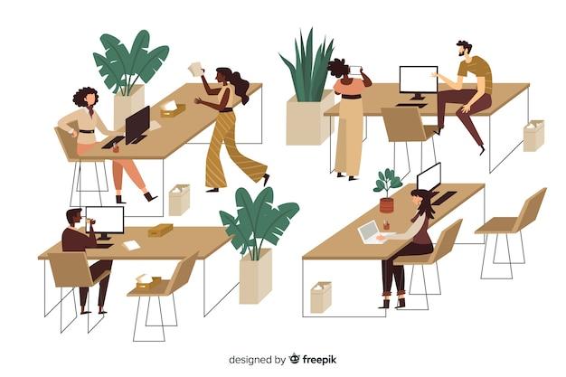 Trabalhadores de escritório sentado na ilustração de mesas