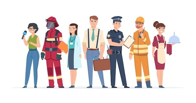 Trabalhadores de fábrica, empresários, engenheiros e médicos, conceito de comunidade