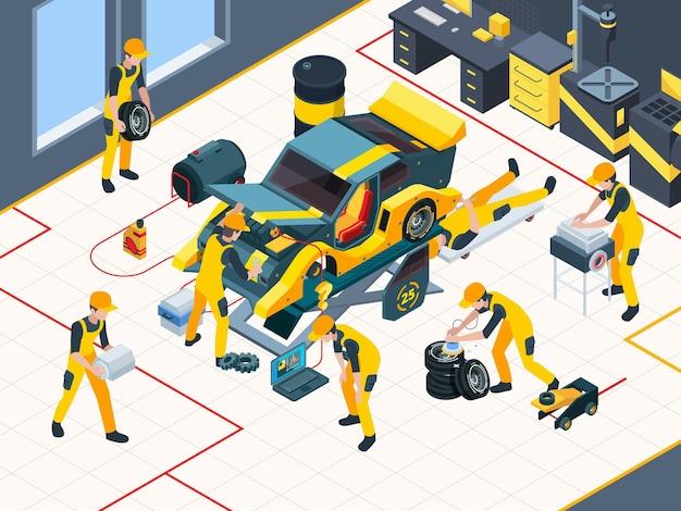 Trabalhadores de garagem consertando automóvel