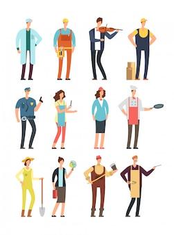Trabalhadores de homem e mulher com ferramentas de uniforme.