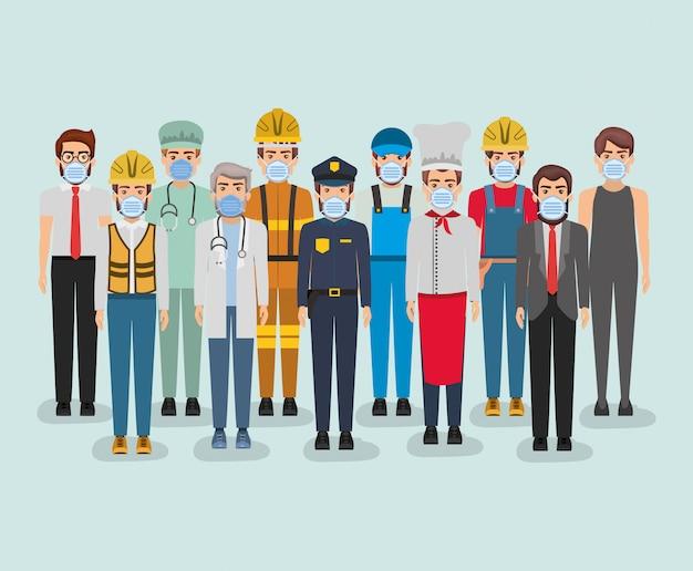 Trabalhadores de homens com máscaras contra o vírus 2019 ncov vector design