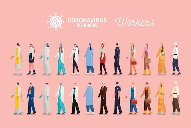 Trabalhadores de homens e mulheres com design de uniformes e máscaras