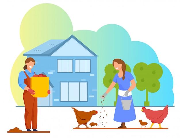 Trabalhadores de jardinagem e avicultores, fazenda animal