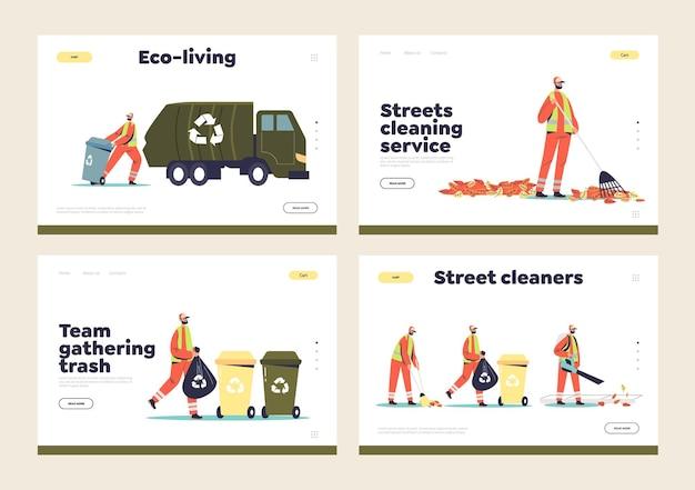 Trabalhadores de limpeza de rua, catadores de lixo e zeladores