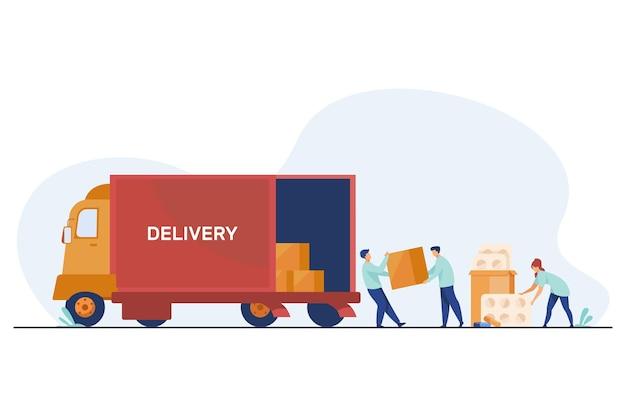 Trabalhadores de logística entregando remédios. funcionários do armazém carregando caminhão com ilustração plana de comprimidos