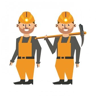 Trabalhadores de mineração com capacetes e picaretas