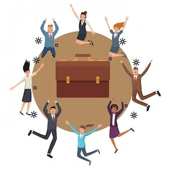 Trabalhadores de negócios executivo feliz