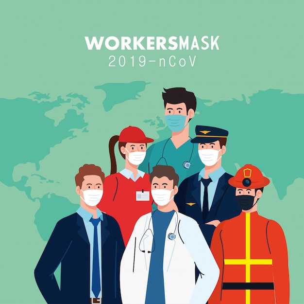 Trabalhadores de pessoas com máscaras de trabalhadores e mapa do mundo