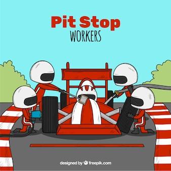 Trabalhadores de pit stop de corrida
