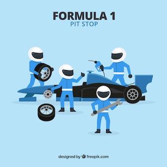 Trabalhadores de pit stop de fórmula 1 com design plano