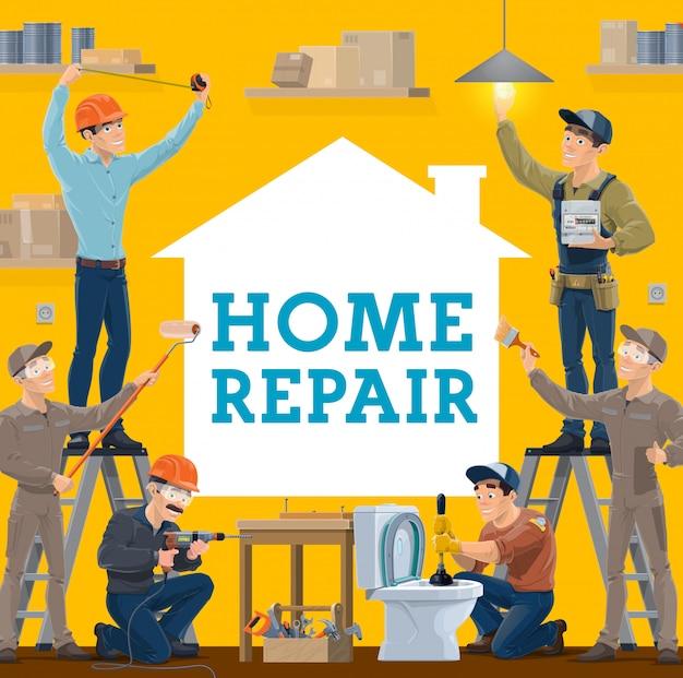 Trabalhadores de reparos e construção de casas, ferramentas de trabalho
