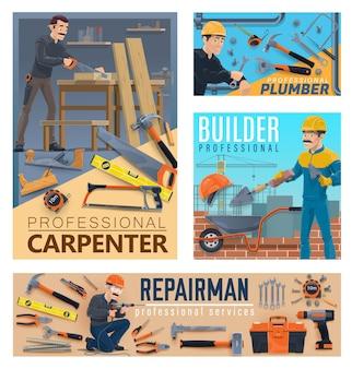 Trabalhadores de reparos e construção de casas, ferramentas