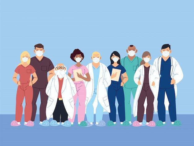 Trabalhadores de saúde, médicos e enfermeiras