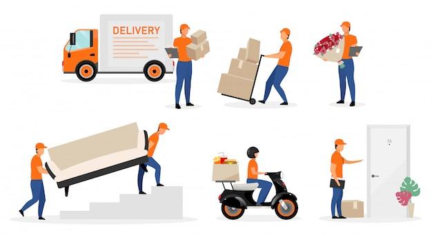 Trabalhadores de serviço de entrega plano conjunto de ilustrações.