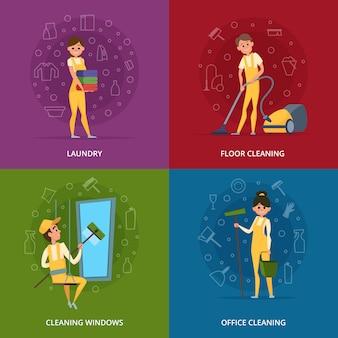 Trabalhadores de serviço de limpeza